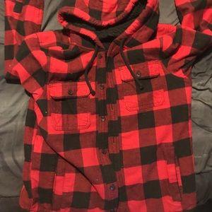 Plaid hooded fleece